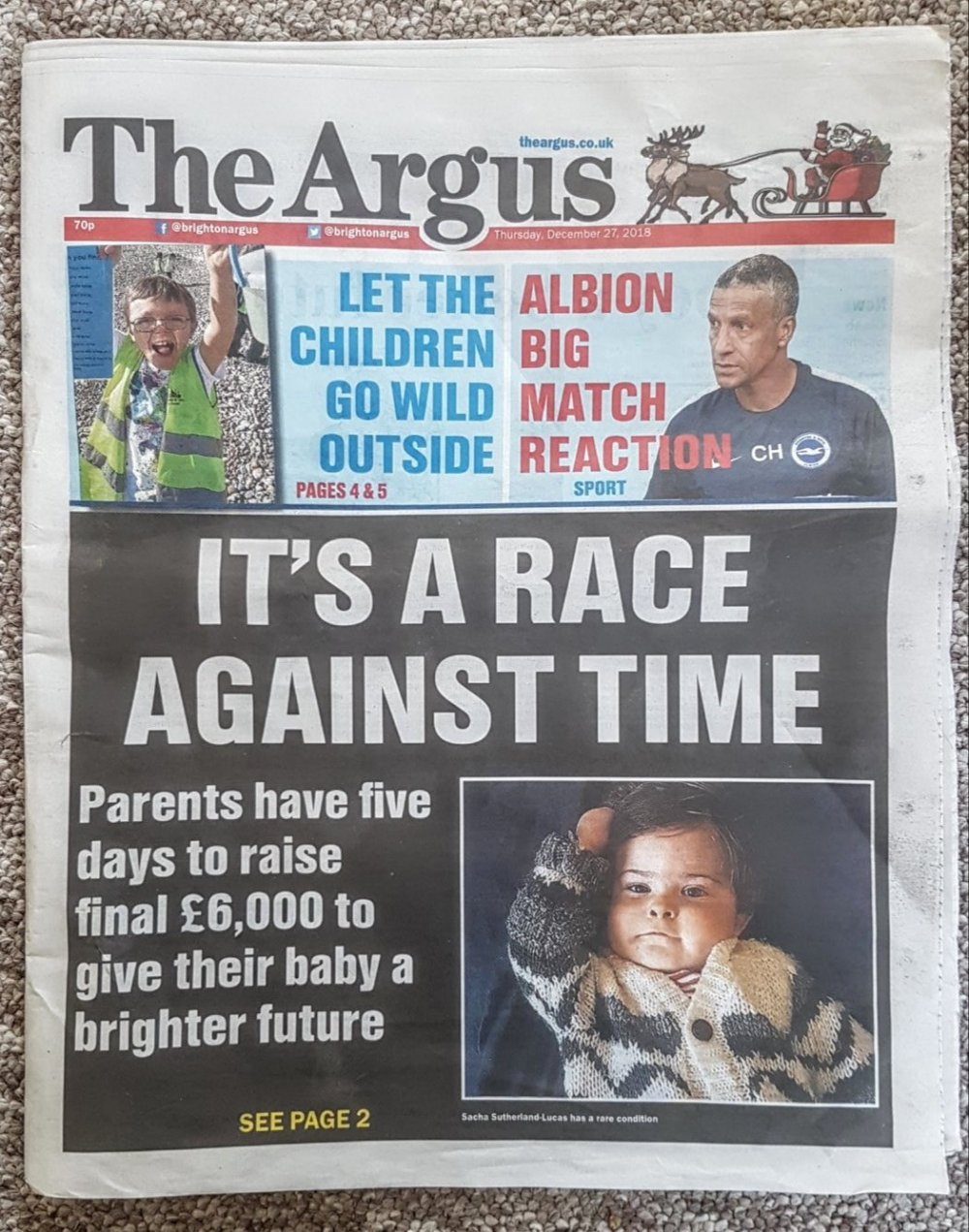 Sacha on the front page of the Argus